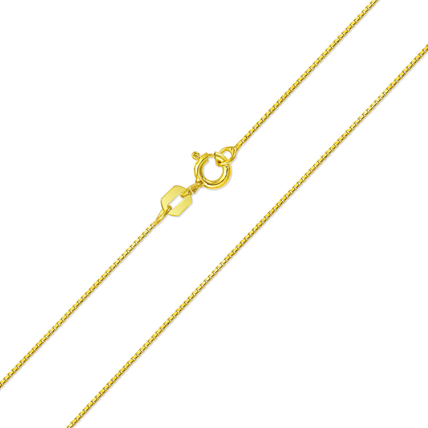 18k Necklace Box Chain in White Gold Yellow Gold Choice of Lengths 16 18 20 24 and 0.5mm