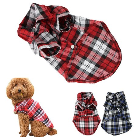 Girl12Queen Cute Pet Dog Puppy Plaid Shirt Coat Clothes T-Shirt Top Apparel Size XS S M - Dog Suits