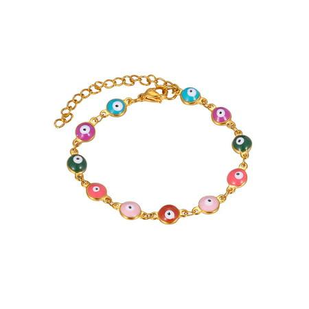 Gold Evil Eye Jewelry - Stainless Steel Multi Evil Eye Gold Link Bangle 5cm Extension Jewelry Bracelet