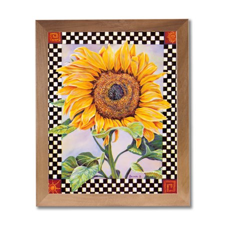Checkerboard Sunflower Country Folk Kitchen Wall Picture Honey Framed Art -