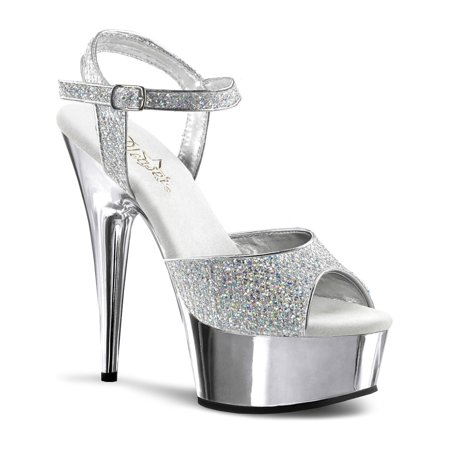 66262bef4d45 SummitFashions - Womens Grand Silver Evening Shoes with 6 Inch Silver  Chrome Platform Heels - Walmart.com