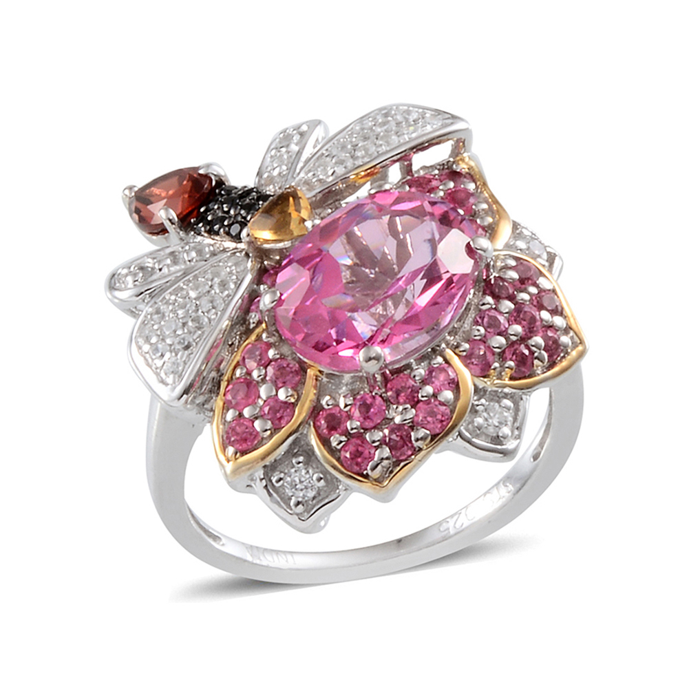 Coated Pink Topaz, Multi Gemstone Platinum Plated Silver Cluster Ring For Women 4.4 cttw. Size 7 by Shop LC