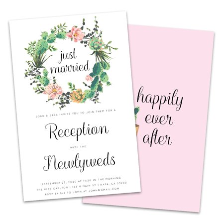 Cactus Wreath Personalized Wedding Reception Invitations (Wedding Reception Order)