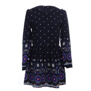 S/M Fit Black with Colorful Ethnic Inspired Print Skater Style Dress