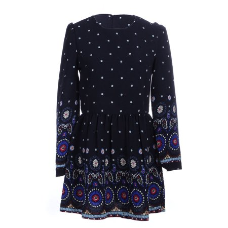 Ethnic Inspired Clothing (S/M Fit Black with Colorful Ethnic Inspired Print Skater Style Dress)