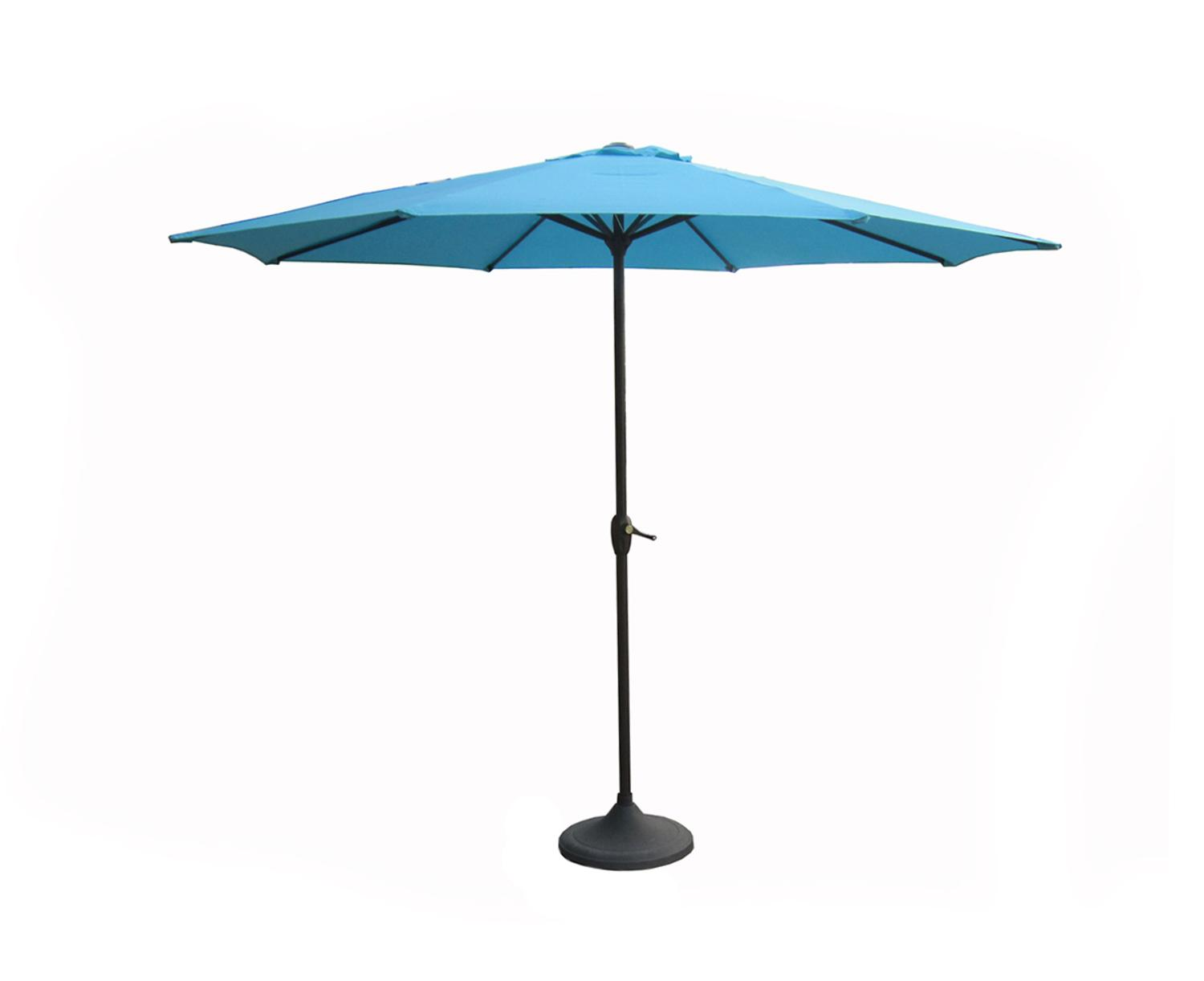 9' Outdoor Patio Market Umbrella with Hand Crank and Tilt Turquoise Teal by LB International