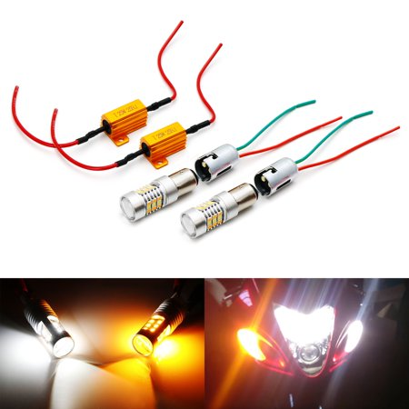 iJDMTOY Complete White/Amber Switchback LED Lighting Conversion Kit For Suzuki Hayabusa GSX1300R Front Turn Signal Lamps