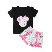 luethbiezx Toddler Kids Baby Girl Summer Outfit Clothes Shirt Tops+Shorts Pants Set 2PCS