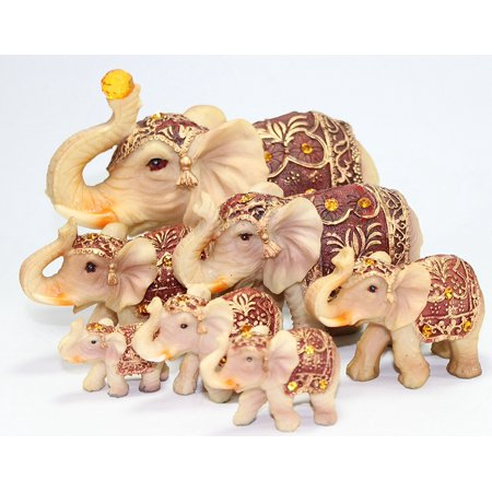 feng shui set of 7 vintage elephant family statues wealth lucky figurines home decor. Black Bedroom Furniture Sets. Home Design Ideas