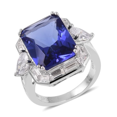- Silvertone Blue Glass White Cubic Zirconia CZ Statement Ring for Women Cttw 14.7