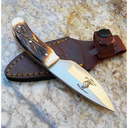 New Bone Collector Hand Made Skinning Knive Hunting Knife + Leather Sheath -