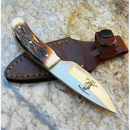 - New Bone Collector Hand Made Skinning Knive Hunting Knife + Leather Sheath BC808