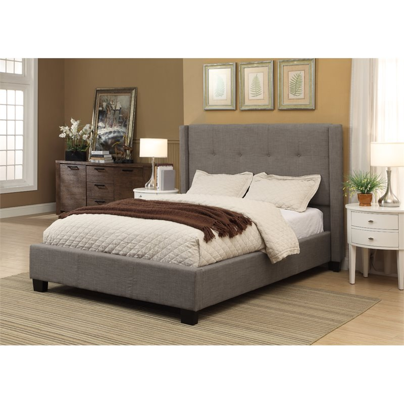 Modus Geneva Upholstered King Platform Storage Bed in Dolphin by