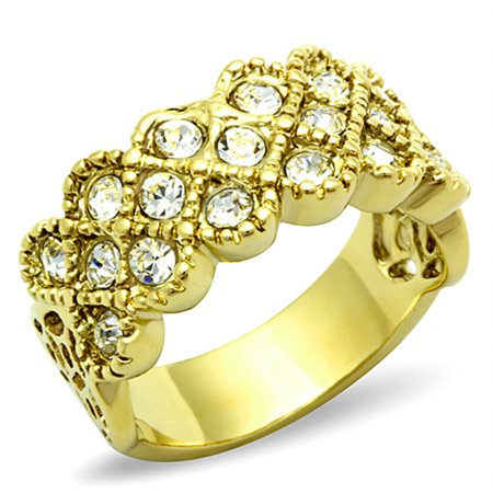 1.87 Ct Crystal 14k Gold Ion Plated Stainless Steel Cocktail Fashion Ring Size 6 Austrian Crystal Fashion Ring