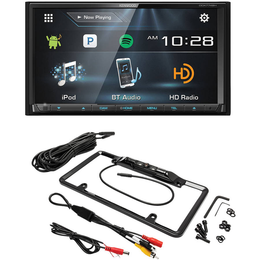 "Kenwood DDX774BH 6.95"" Double-DIN In-Dash DVD Receiver and Crimestopper SV5430B License Plate Mount Backup Camera by Kenwood"