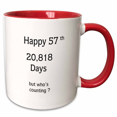 Happy Anniversary Cup - 3dRose Print of Funny Happy 57 Birthday Or Anniversary - Two Tone Red Mug, 11-ounce