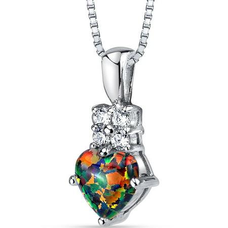 1.00 Carat T.G.W. Heart-Cut Black Opal Rhodium over Sterling Silver Pendant, 18