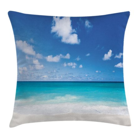 Ocean Throw Pillow Cushion Cover, Tropical Exotic Sandy Beach Caribbean Sea Bay Barbados Coastline Summertime, Decorative Square Accent Pillow Case, 16 X 16 Inches, Blue Aqua Coconut, by Ambesonne