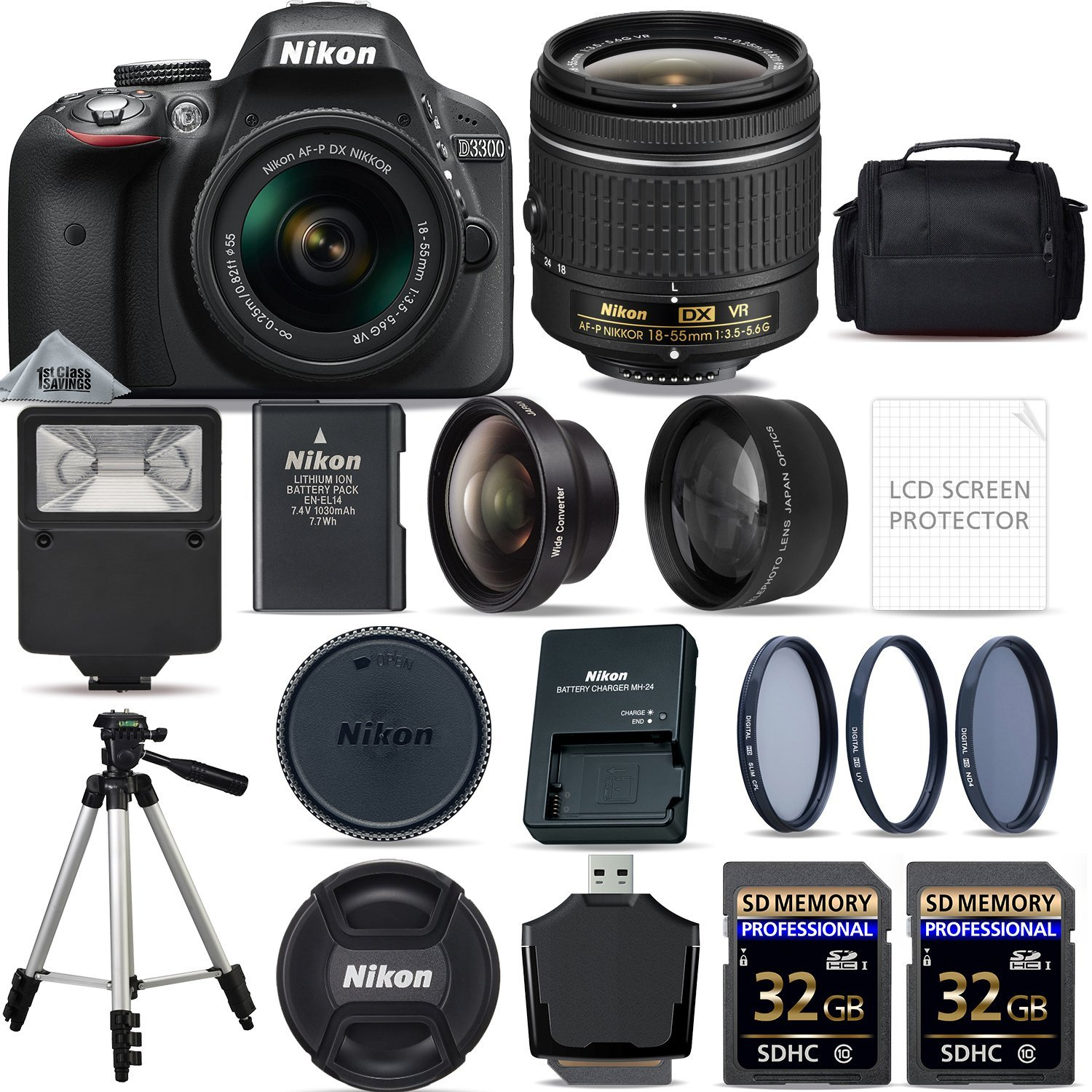 Nikon D3300 DSLR Camera + 18-55mm VR Lens + 64GB STORAGE ...