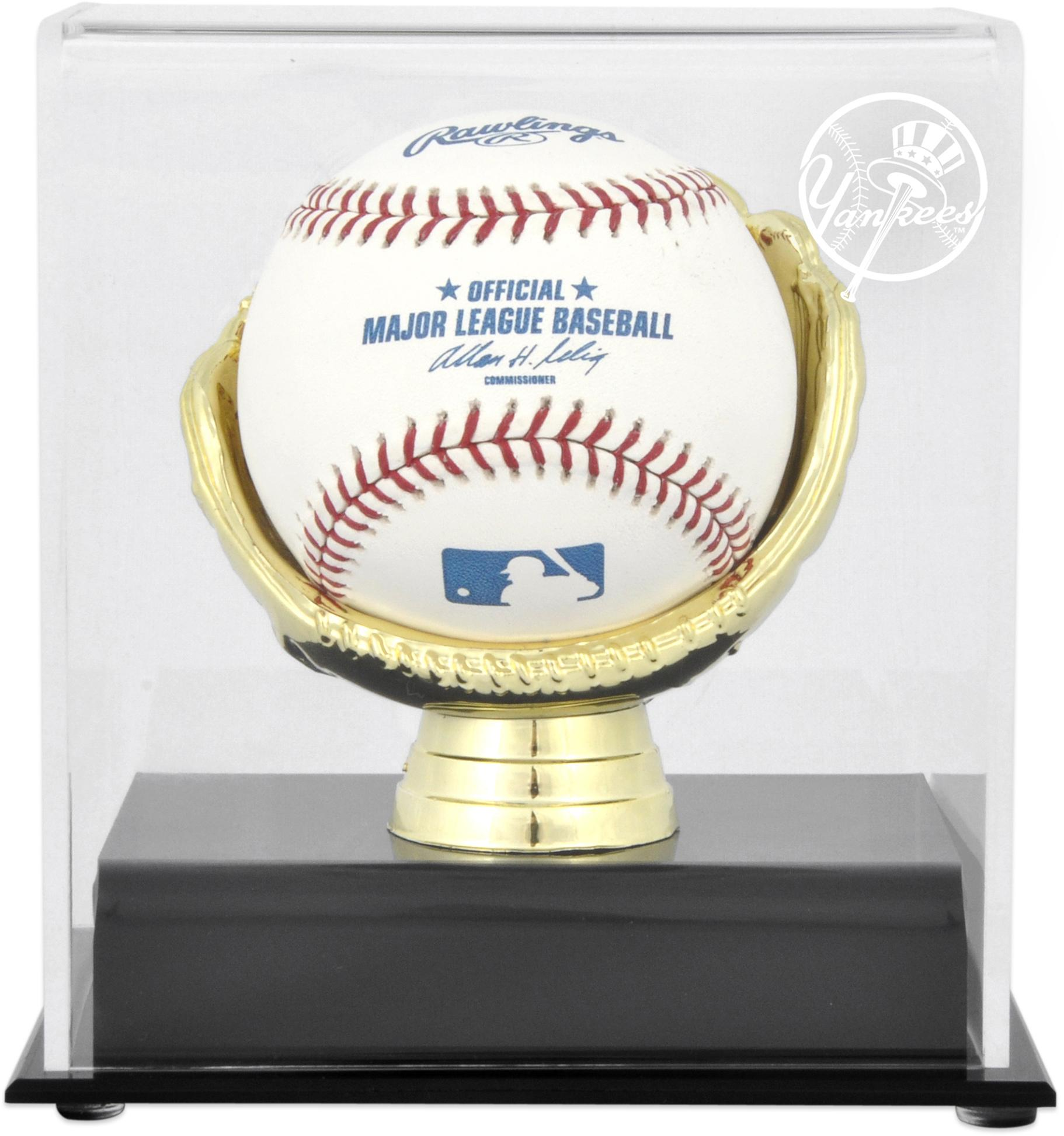 New York Yankees Logo Gold Glove Single Baseball Logo Display Case