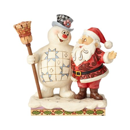 Jim Shore Frosty the Snowman and Santa Hugging (Jim Shore Sleigh)
