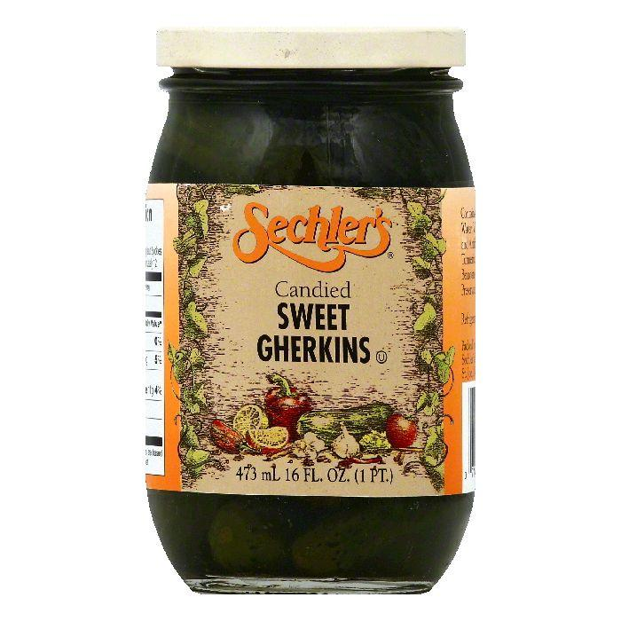 Sechlers Candied Sweet Gherkins, 16 OZ (Pack of 6)