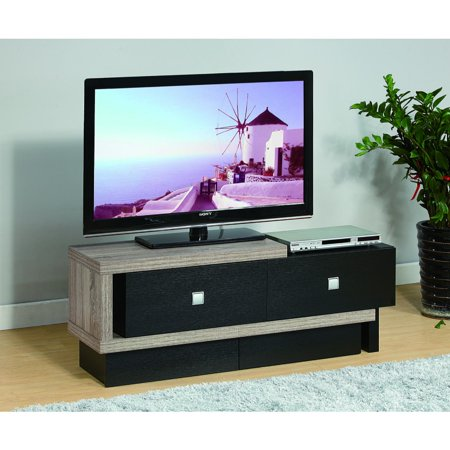 Aesthetic TV Stand With Two Metal Glide Drawers, Black and Gray
