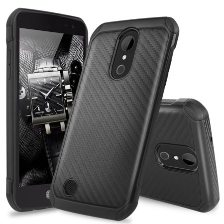 LG K20 Plus Case, LG K20 V Case, LG Harmony Case, Premium Dual Layer Hybrid Shock Absorbing Impact Resistant Rugged Slim Armor Case Cover Carbon Fiber Back with Hard TPU Inner Layer