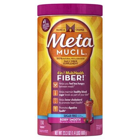 - Metamucil Multi-Health Psyllium Fiber Supplement Sugar-Free Powder, Berry Flavored, 114 Servings