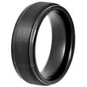 Men's Black IP Tungsten 8MM Step Edge Comfort Fit Wedding Band - Mens Ring