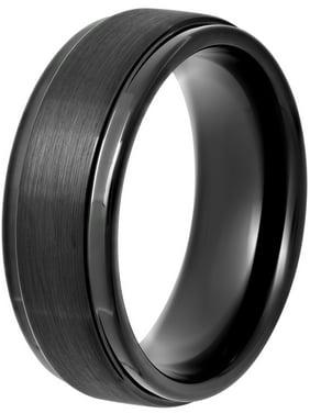 Men's Black IP Tungsten 8MM Step Edge Comfort Fit Wedding Band - Men's Ring