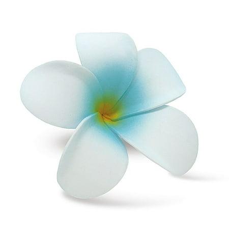 Plumeria Foam - Hawaii Hair Clip Foam Flower Plumeria White Blue
