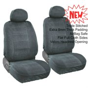 A35 Premium 4pc Front 2 Bucket Seat Covers Set Automotive Grade Encore Fabric 8mm Thick Triple Stitched - 2 Front Bucket Seat Covers, 2 Headrest Covers for JEEP Charcoal, Dark Gray