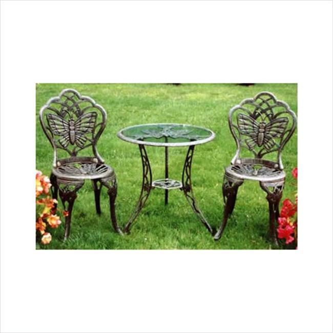 Oakland Living 3601-AB - Butterfly 3 Piece Bistro Set - Antique Bronze