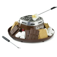 Nostalgia SMM200 Indoor Electric Stainless Steel S'mores Maker with 4 Compartment Trays and 2 Roasting Forks