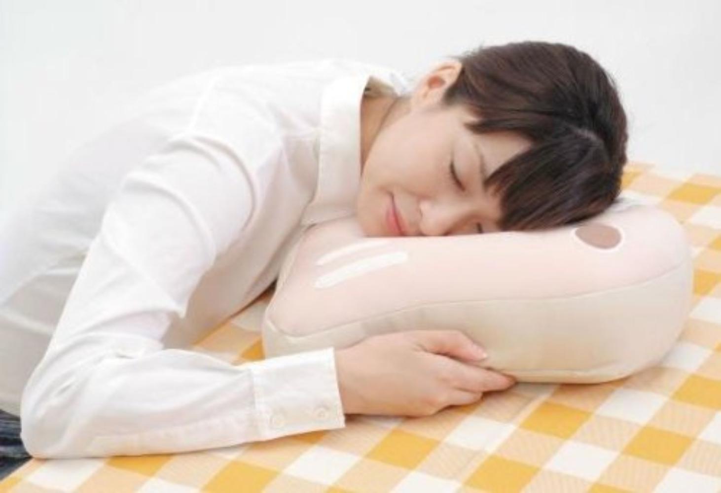 Center Hole Sleeping Relax Pillow-Desk Nap Cushion W// Arm Slot School Office Use