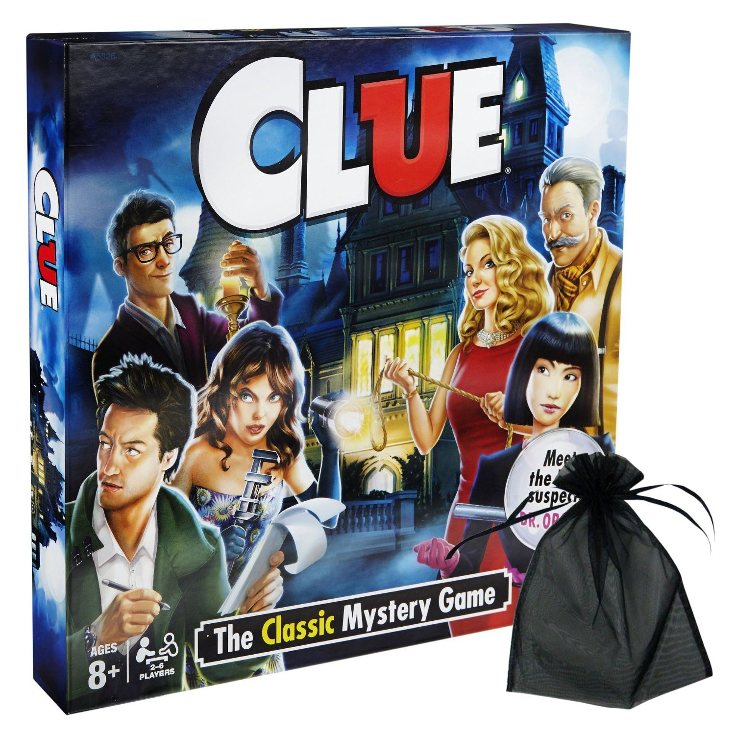 Clue w free storage bag, Updated version of Clue features two-sided game board with a... by
