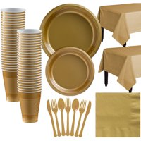 Amscan Plastic Tableware Kit for 50 Guests, Party Supplies Set, Includes Plates, Cups, Table Covers and More