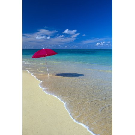 Red Beach Umbrella In Sline Waters Clear Turquoise Water B1455 Stretched Canvas Dana Edmunds Design