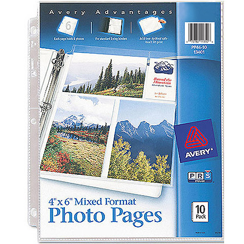 Avery Photo Pages for Six 4 x 6 Mixed Format Photos 13401, 3-Hole Punched, 10/Pack
