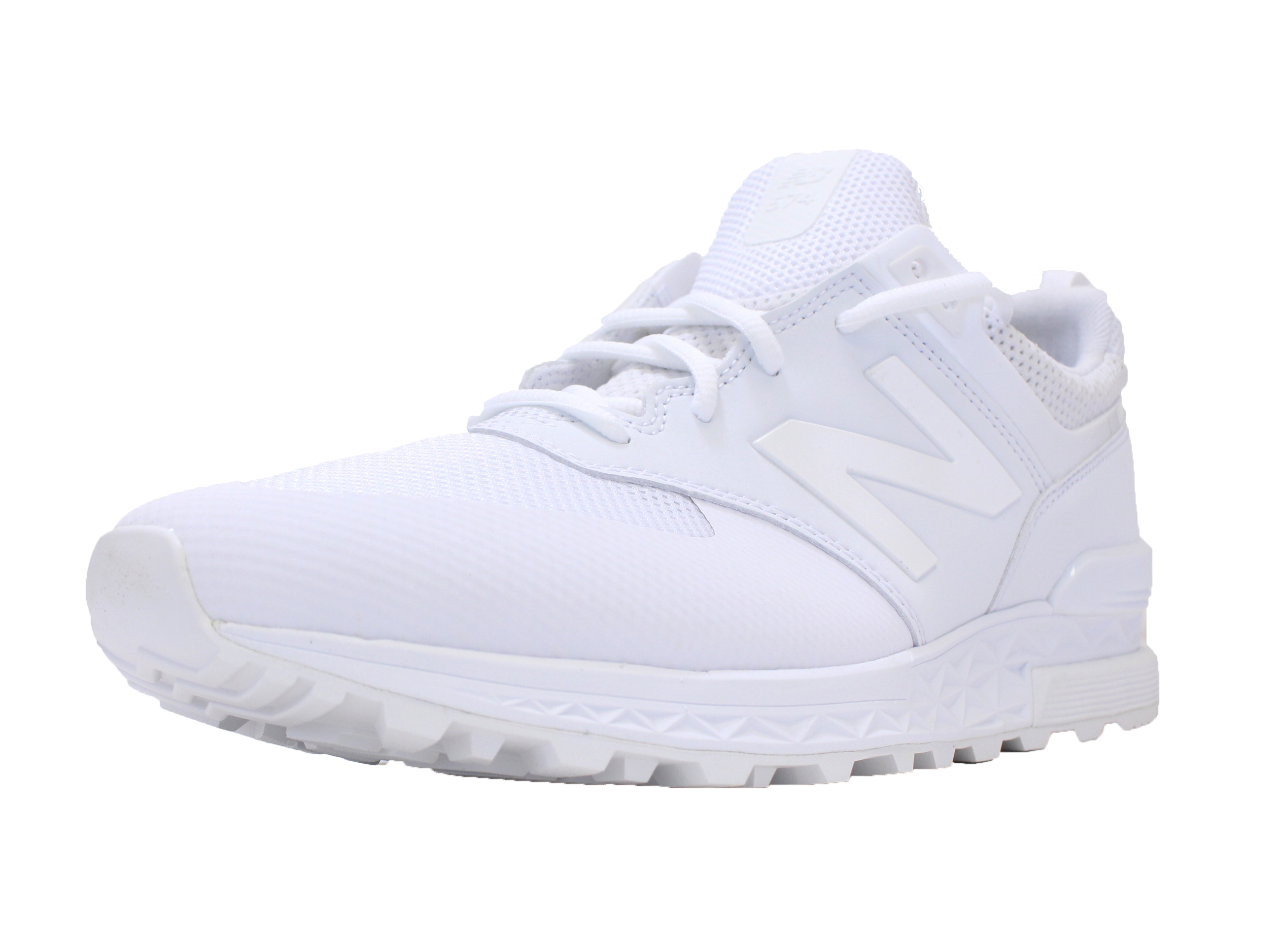 san francisco 09d76 e04e1 NEW BALANCE 574 SPORT SZ 8 TRIPLE WHITE MESH FRESH FOAM RUNNING SHOE  MS574SWT