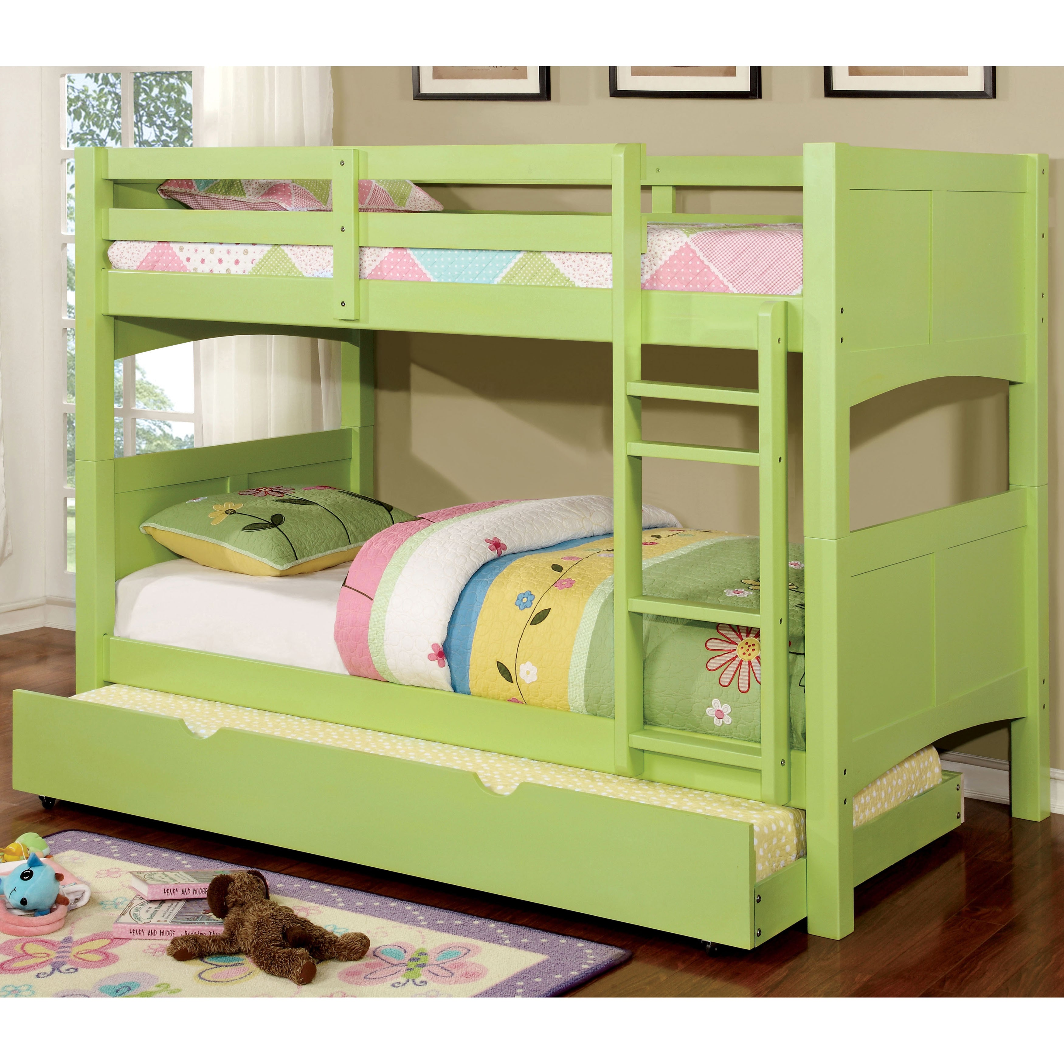 Furniture of America Colorpop Twin Modern 2-piece Bunk Bed with Trundle Set by Furniture of America