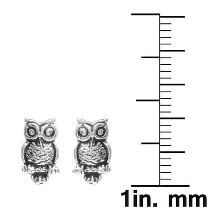 Brinley Co. Sterling Silver Owl Stud Earrings