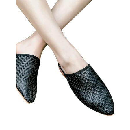 Women Summer Low Heel Mules Flat Slip On Sandals Point Toe Shoes Slippers](Glass Slipper Heels)