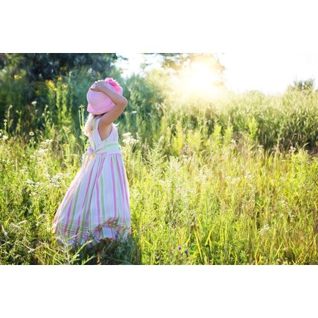 Canvas Print Happiness Wildflowers Child Little Girl Meadow Stretched Canvas 10 x - Wildflower Girls
