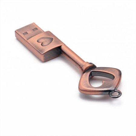 Portable Creative Coppery Key Shape USB2.0 Interface Mini USB Flash Drive - image 8 de 9