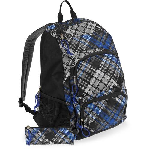 "Triple Pocket Plaid 18"" Backpack with Bonus Pencil Case"