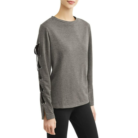 Women's Athleisure Lace Up Sleeve Sweatshirt