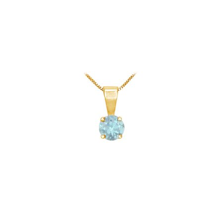 Round March Birthstone Aquamarine Solitaire Pendant 14K Yellow Gold 1.00 CT TGW - image 2 de 2