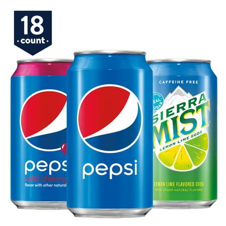 Pepsi Wild Cherry/Sierra Mist Variety Pack, 12 oz Cans, 18 Count (Pub Pepsi Coca Cola Halloween)
